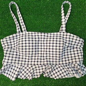 CUPSHE Black And White Gingham Ruffles Bikini Top